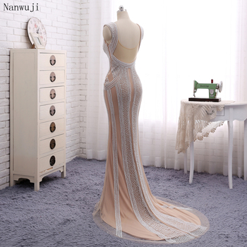 Real PhotoLuxury  Champagne Mermaid Evening Dresses With Pears Sweep Train   Sparkly Evening Gown Robe De Soiree 2018 In stock 5