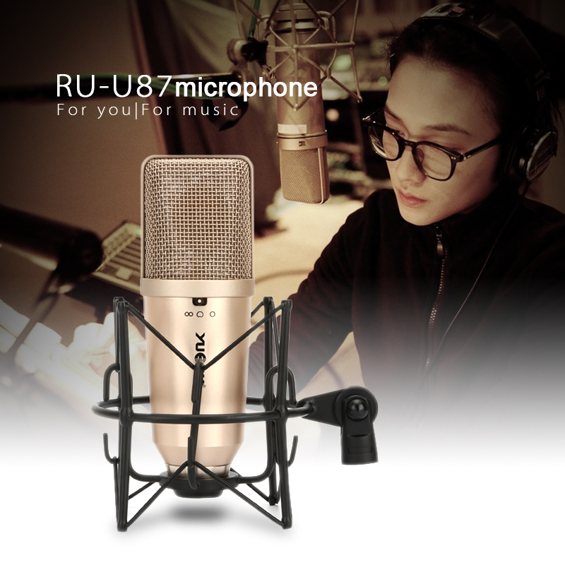 YUEPU U87 Studio Condenser Microphone Professional Large Diaphragm High Sensitivity for Computer Video Recording Phantom Power large stock low price high quality multi functional recording condenser microphone yr01