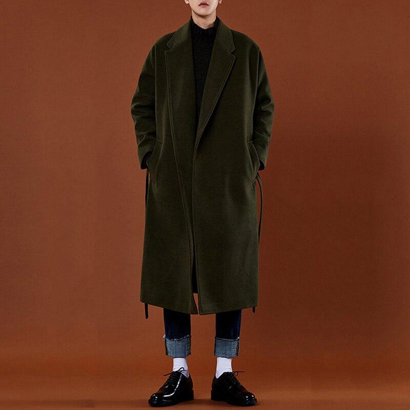 Зимний Тренч средней длины, Мужская ультрадлинная утепленная шерстяная верхняя одежда, Однотонное шерстяное пальто