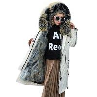 Натуральный мех енота лайнер пальто женская одежда зимняя куртка енота пальто с капюшоном и меховым воротником корейский Винтаж парка Abrigo