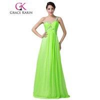Grazia Karin Lungo Prom Dress Una Spalla Sweetheart Paillettes Verde Prom Dresses Chiffon di Lunghezza Del Pavimento Eleganti Abiti Del Partito 2017