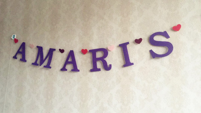 Personalised 1st Birthday Party Purple Banner Baby Name Letter Buntings Nursery Garland Shower Decoration Heart