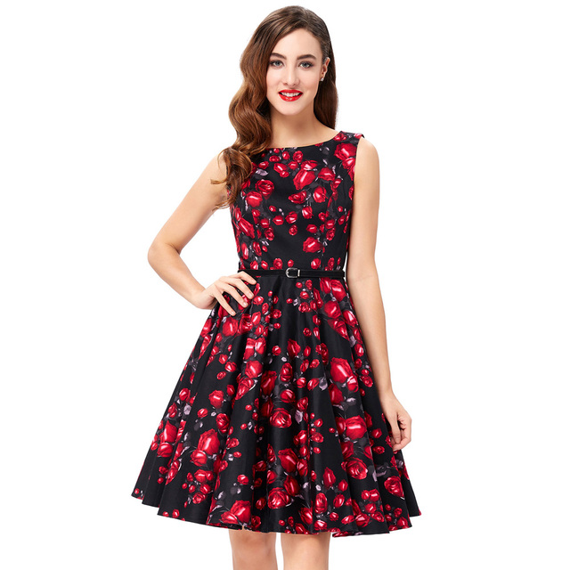 Womens Summer Style Floral Print Retro Vintage 50s Polka Dot Casual Party Robe Rockabilly Dresses Plus Size Vestidos Femininos