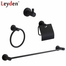 цена на Leyden Black 304 Stainless Steel Single 4pcs Bathroom Accessories Set Single Towel Bar Toilet Paper Holder Robe Hook Towel Ring