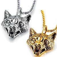 Новая мода белый/золотой волк из нержавеющей стали форма головы кулон ожерелье для мужчин ювелирные изделия подарок XL099