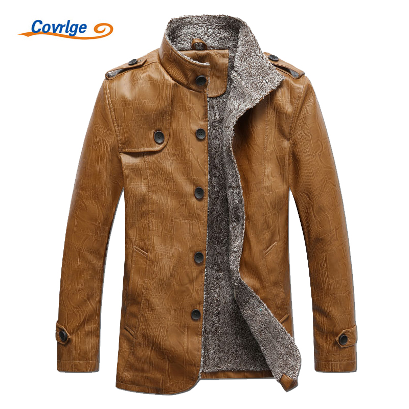 Covrlge Men Fashion Leather Jackets PU Long Sleeve Plus Velvet Coats Mens Clothes Solid Stand Collar Motorcycle Jacket MWP006