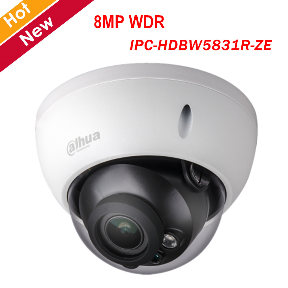 8MP POE Dahua IP Camera IPC-HDBW5831R-ZE 8MP WDR IR Dome Network Camera H.265 2.7mm-12mm Motorized Lens Home Security Camera