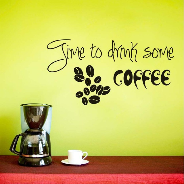 Time To Drink Some Coffee Wall Stickers Coffee Beans Pattern Vinyl ...