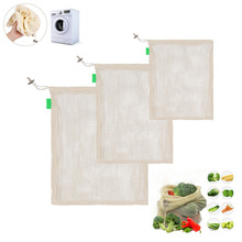 20*25cm Storage Bags Reusable Cotton Linen Mesh Bag Home Kitchen Washable Drawstring Shopping Durable And