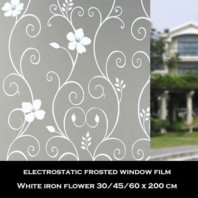 0,45x2 Mt Pvc Wasserdichte Privatsphäre Fenster Film Matt Weiß Eisen Blume Dekorative Film Hause Fenster Glas Aufkleber Jade Weiß