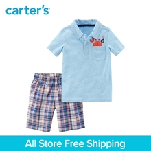 Carter's 2-Piece baby children kids clothing Boy Summer Jersey Polo & Plaid Short Set 249G712/229G736