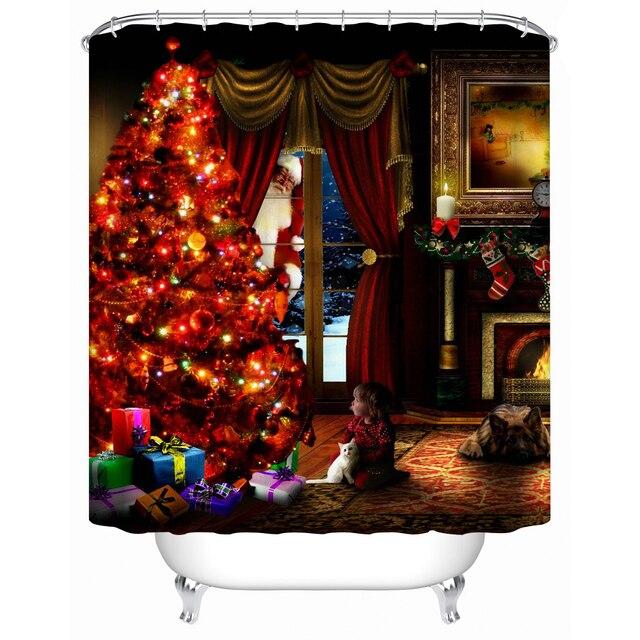 charmhome 2017 neue wasserdichte stoff dusche vorhang weihnachtsbaum umweltfreundliche hochwertige duschvorhnge badezimmervorhang - Stoff Vorhang Dusche