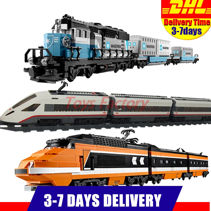 LEPIN 21006 Maersk Train  +21007 The Horizon Express Train+ 02010 High-speed Passenger Train Model Building 10233 10219 60051 stop the train reissue