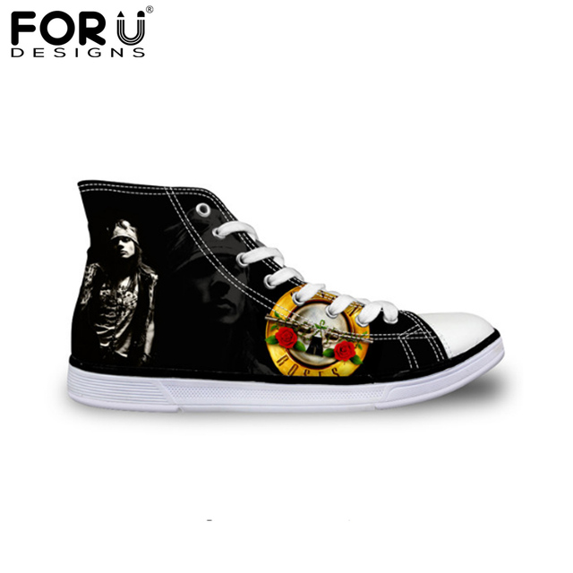 FORUDESIGNS Men's Fashion High Top Canvas Shoes Guns N Roses Pattern Flats Shoes for Men Casual Lace-up Walking Shoes Male Shoes