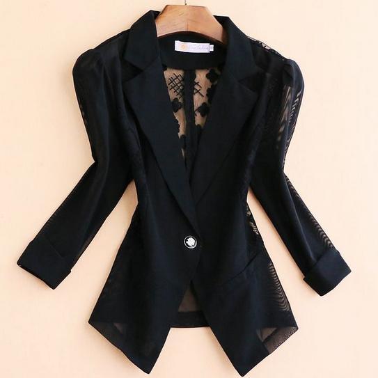 Plus Size 5xl!Blazers 2020 Summer Elegant Women Lace Crochet Hollow Three-quarter Sleeve Blazer Slim OL Formal Small Suit