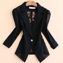Plus Size 5xl!Blazers 2020 summer Elegant Women Lace Crochet Hollow three-quarte