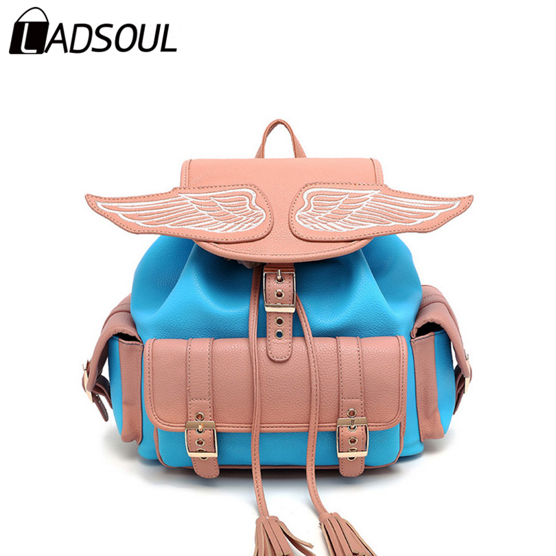 LADSOUL PU leather women backpack Casual wing angel lady cool soild versatile popular lovely school style girls like bag A3554/h