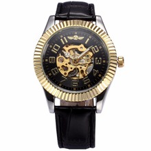 WINNER Classic Mens Automatic Skeleton Golden Black Steampunk Leather Strap Mechanical Wrist Watches Relojes Hombre Gift /PMW247