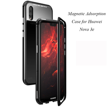Magnetic Adsorption Case for Huawei Nova 3E Clear Tempered Glass + Built-in Magnet Metal Ultra Cover