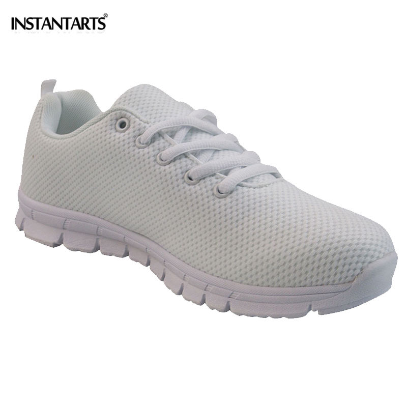 INSTANTARTS Fashion White Teen Girl Flat Shoes Casual Spring/Autumn Breathable Mesh Flats Shoes Comfortable Women Pure Sneakers instantarts women casual flats shoes ladies skull flower printed light air mesh fashion sneakers girl lace up shoes plus size