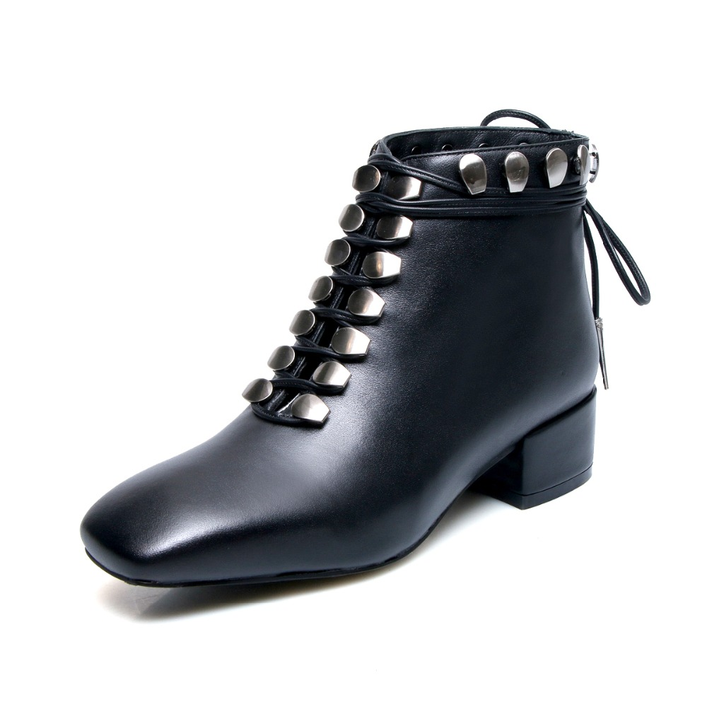fc90d5b15b0 2018 new autumm black patent leather cross tied chunky heel woman martin  boots square toe metal buckle med heel woman shoes