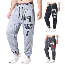 New Arrival Men Casual Letters Prints Pants Loose Sports Fitness Sweatpants Joggers Drawstring Waist Trousers