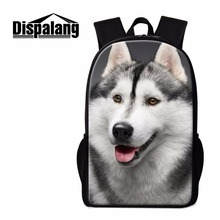 Dispalang Husky Backpack for Boys Cool School Bag Animal Dog Pattern Shoulder Bookbag for Teenagers Cute Girls Mochila Back Pack dispalang cute dog computer backpack for teenager animal 3d print laptop school bags for children tourism shoulder book bag