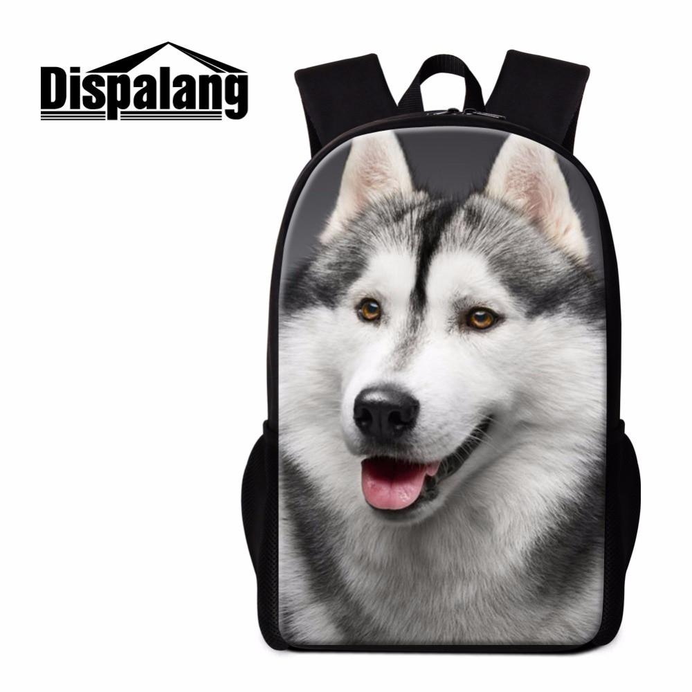 Dispalang Husky Backpack for Boys Cool School Bag Animal Dog Pattern Shoulder Bookbag for Teenagers Cute Girls Mochila Back Pack