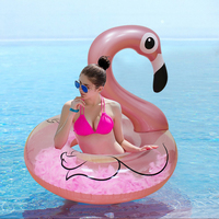Rose Gold Inflatable Flamingo Swimming Ring with Feathers Women Swim Circle Tube Beach Summer Water Party Inflatable Pool Toys