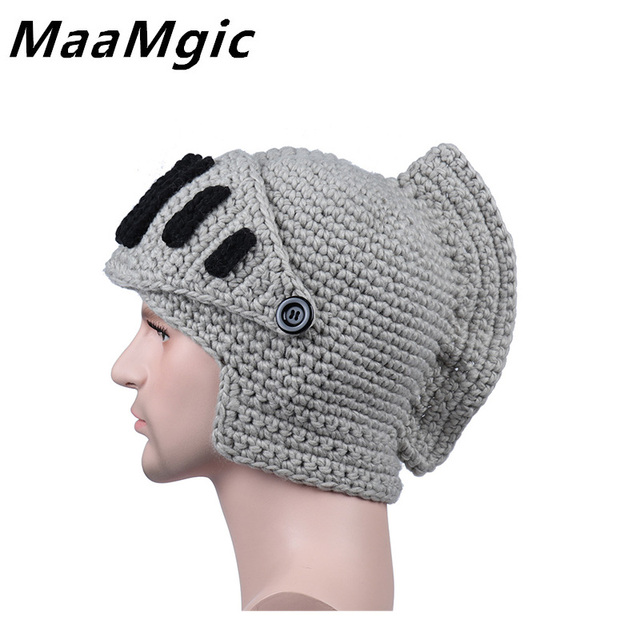 Novelty Men Women Roman Knight Armor Caps Cool Cute Winter Handmade Knitted  Hats Gladiator s Cap Unisex warm Fashion masks Hat 81093dab9a0
