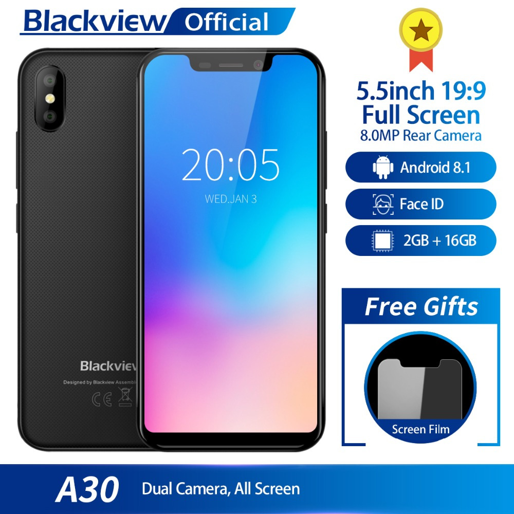 Blackview A30 Smartphone 5,5 zoll 19:9 Volle Bildschirm MTK6580A Quad Core 2 gb + 16 gb Android 8.1 Dual SIM 3g Gesicht ID Handy