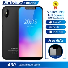 Blackview A30 Smartphone 5.5inch 19:9 Full Screen MTK6580A Quad Core 2GB+16GB Android 8.1 Dual SIM 3G Face ID Mobile Phone(China)