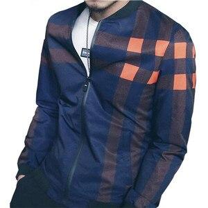 Image 4 - VISADA JAUNA 2020 Neue Ankunft männer Jacken Patchwork Casual Marke Kleidung Stehen Kragen Langarm Männlichen Outwear 5XL Plaid mantel