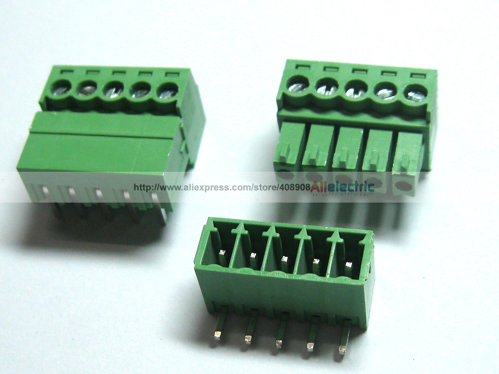 150 Pcs Screw Terminal Block Connector 3.81mm Angle 5 Pin Green Pluggable Type 150 Pcs Screw Terminal Block Connector 3.81mm Angle 5 Pin Green Pluggable Type