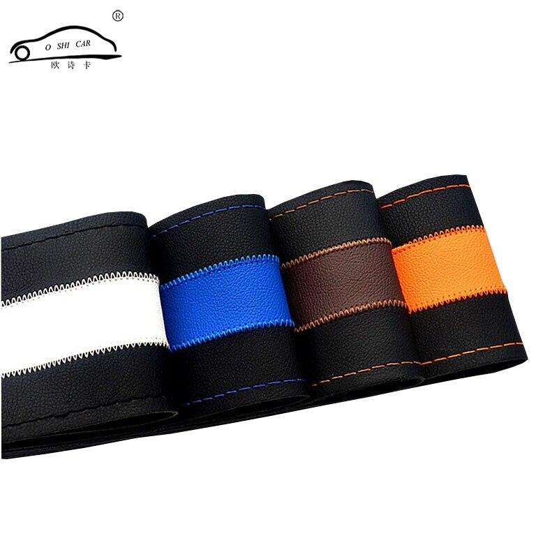 Leisure Brush Color Top Leather handlebar braid Steering Wheel DIY Very durable steering wheel cover skin