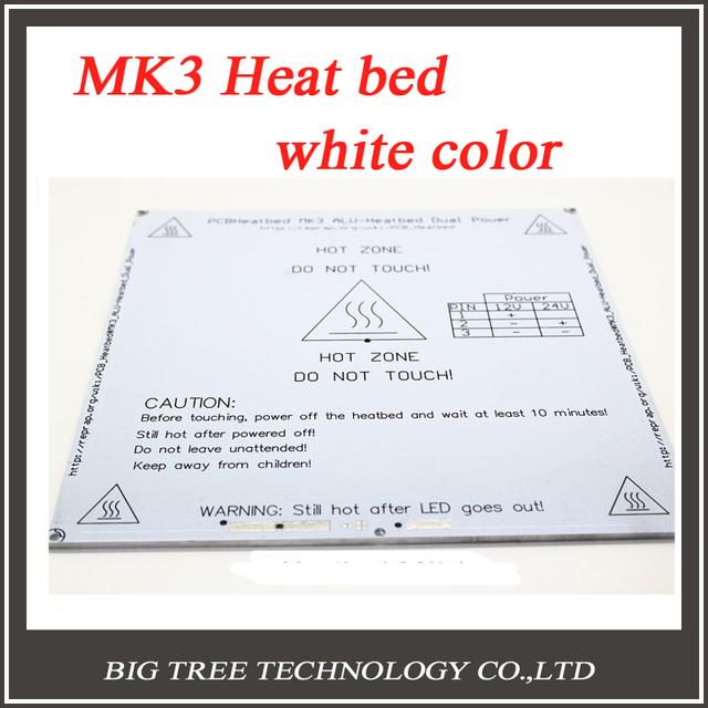Nova! Cor branca 3D Heatbed Printer aquecida Bed MK3 padrão placa de alumínio 3 mm cama quente Reprap frete grátis
