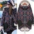 Novo fertilizante grande tamanho mulheres inverno quente além de veludo xadrez personalidade longa seção de grosso casaco de algodão acolchoado das mulheres