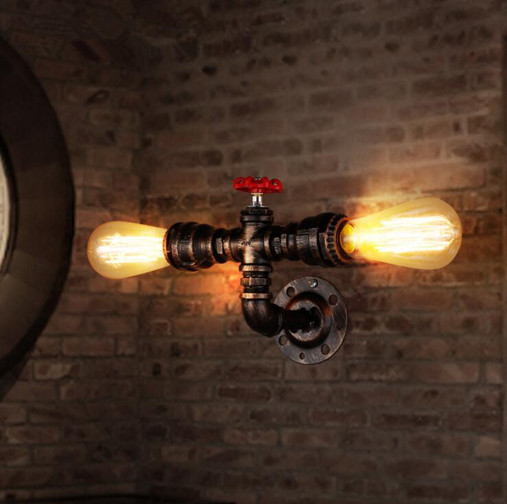 Loft Industrial Vintage Restaurant Bar Iron Wall Lamp American Simple Coffee Shop Water Pipe Decoration Wall Light Free Shipping loft american edison vintage industry crystal glass box wall lamp cafe bar coffee shop hall store club