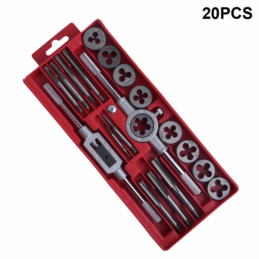 Flexsteel 20pcs Alloy Steel Tap And Die Set 58-62HRC Metric Thread Plugs Tap Wrench Tool Dies Holder Screw Taps Hand Tools Set