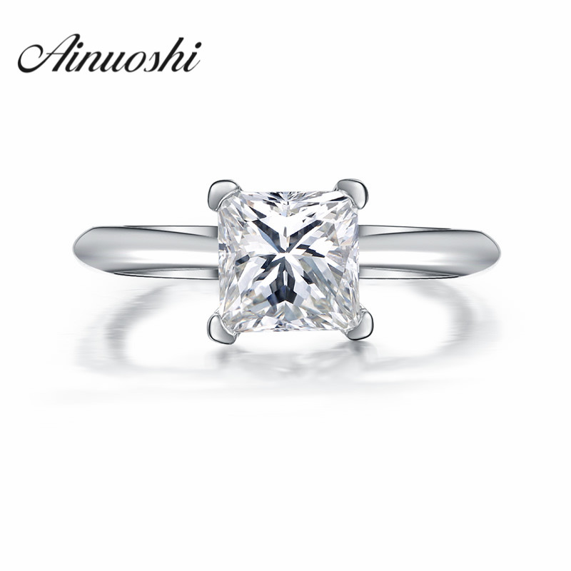 AINUOSHI Princess Cut Shape Solitaire Ring Sona Ring for Woman Heart and Arrows Engagement Ring 925 Sterling Silver Weeding Ring