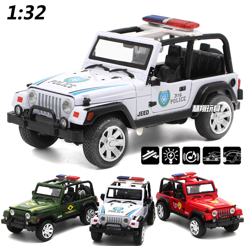 new 132 diecast fire engine model jeep toys replica car with openable doors sound light pull back function for kids gifts