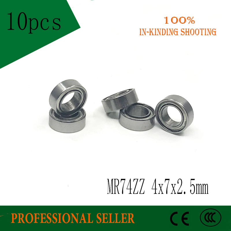 Free Shipping 10PCS MR74ZZ  4x7x2.5mm Bearing Mini Bearings ABEC-1 MR74 ZZ 4*7*2.5  Deep Groove Ball Bearing L-740ZZ