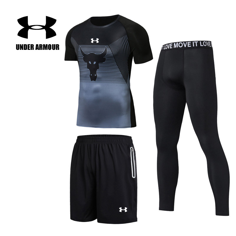 Under Armour Men Compression Running Sets Quick Dry Training Cycling Jogging Gym Fitness workout Tights suits 3 pieces Hot Sale 2017 autumn winter men s running sets 5 pieces compression fitness sports suits basketball tights clothes gym jogging sportswear