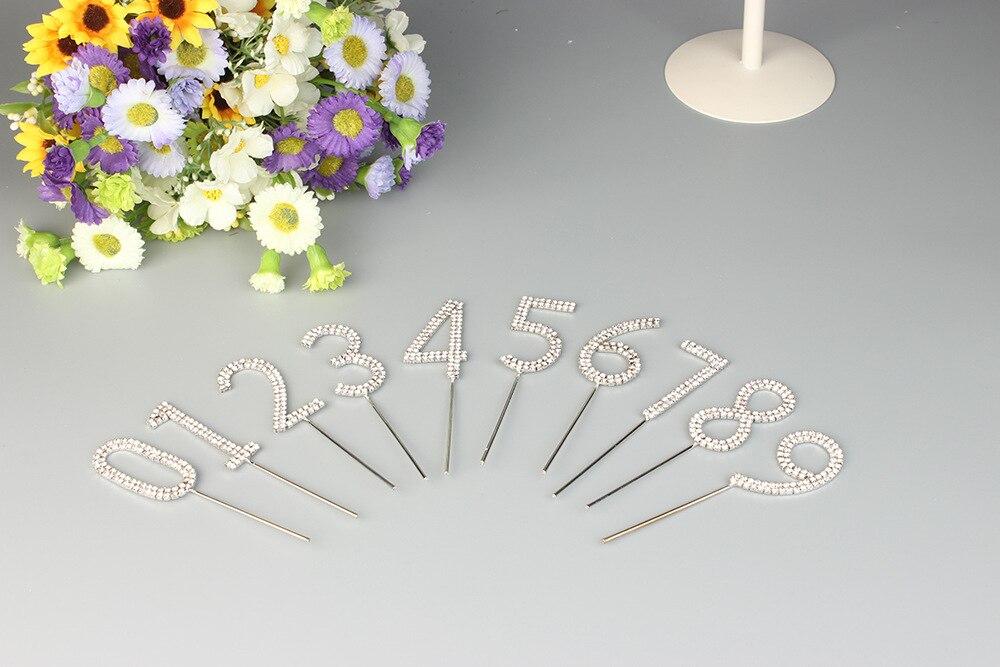 Ev ve Bahçe'ten Kek Dekorasyon Malzemeleri'de (100 adet) Kristal Elmas Doğum Günü Pastası Topper Numaraları Toptan (10X10 adet)'da  Grup 1
