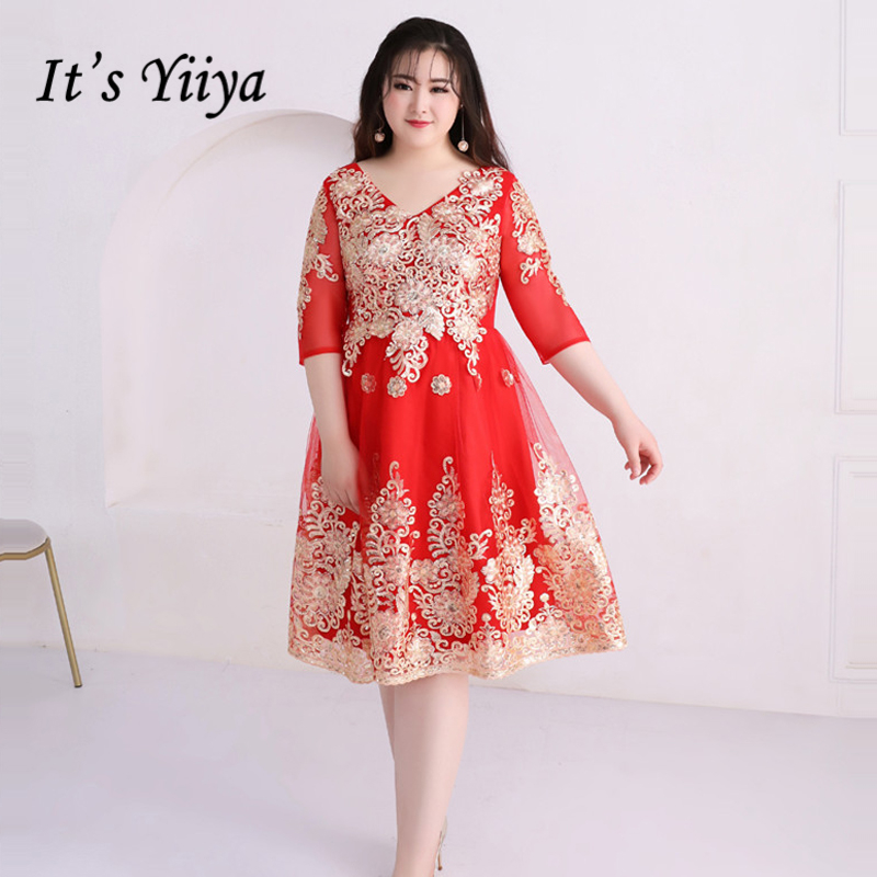 It\'s Yiiya Prom Dresses Girls V-Neck Half Sleeve Plus Size Lace ...