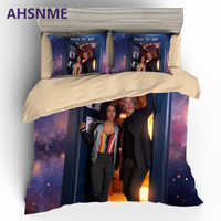 AHSNME 3D Doctor Who Bedding Sets Queen King Double Size Bedlinen Microfiber Duvet Cover Set TARDIS Time Lord