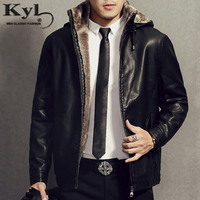 Hooded Detachable Men S Fashion Motorcycle Black PU Faux Leather Jacket With Fur Linning Men Casual