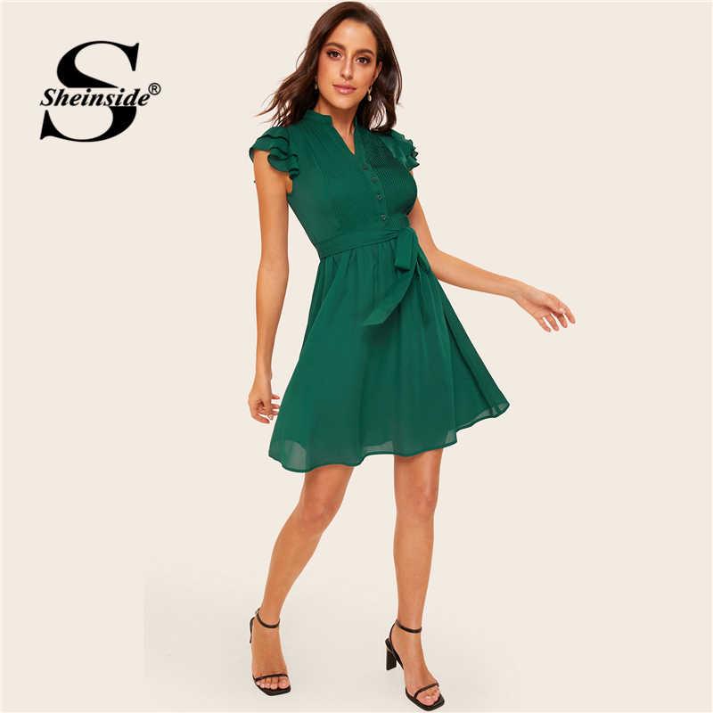 Sheinside зеленое многослойное плиссированное платье с пуговицами спереди и поясом 2019 v-образный вырез винтажные женские платья женское короткое летнее платье