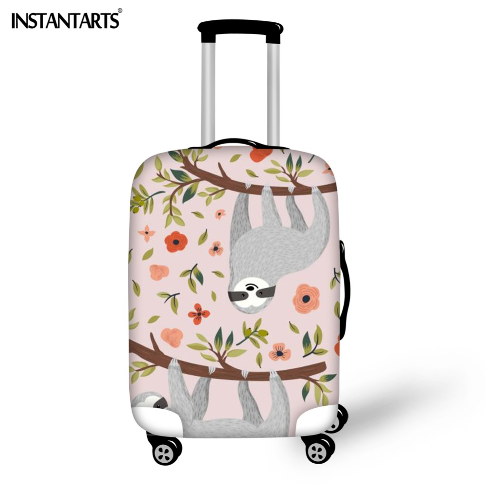 INSTANTARTS Floral Sloth Printing Luggage Cover Zipper Spandex Thicken Travel Trolley Suitcase Protective Cover Apply To 18