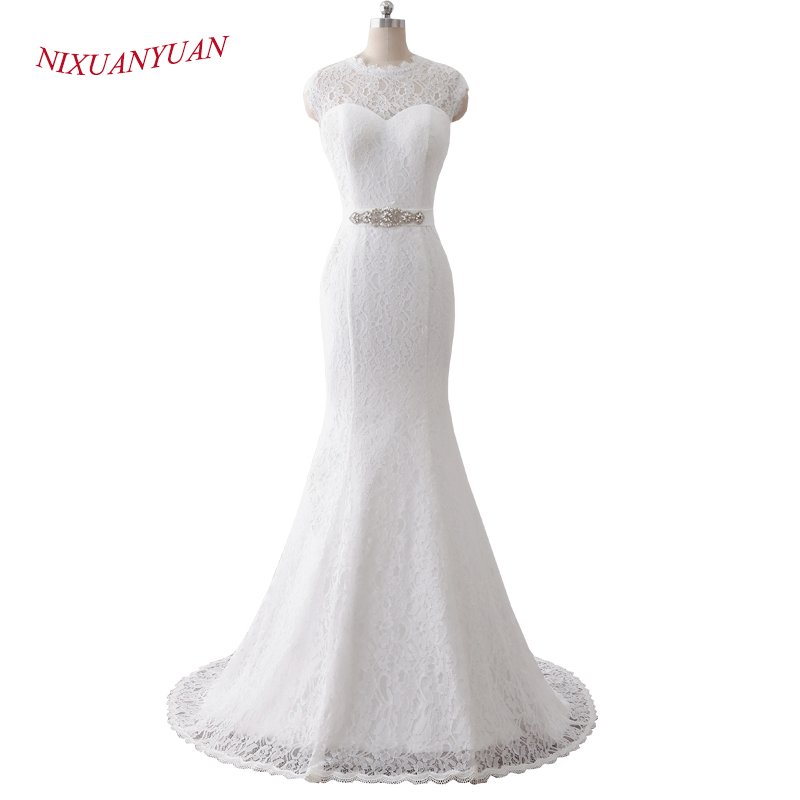 Nixuanyuan 2018 New Simple O Neck Cap Sleeves White Ivory